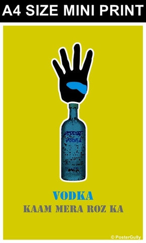 Mini Prints, 4 Bottle Vodka Kaam Roz Ka | Mini Print, - PosterGully