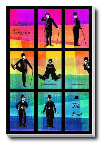 Canvas Art Prints, Charlie Chaplin Pop Art Stretched Canvas Print, - PosterGully - 1