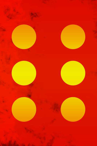 6 Yellow Circles Red Abstract |  PosterGully Specials