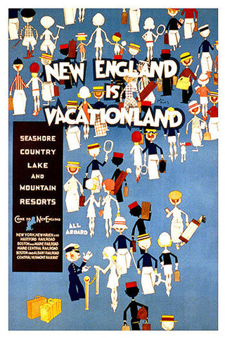 Wall Art, New England Is Vacation Land, - PosterGully