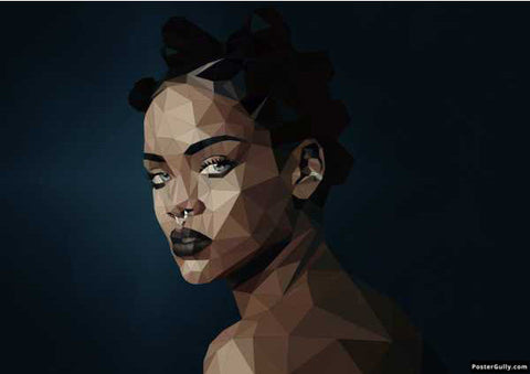 Wall Art, Rihanna Polygon Pop Singar Artwork | Artist: Shinoj Abraham, - PosterGully