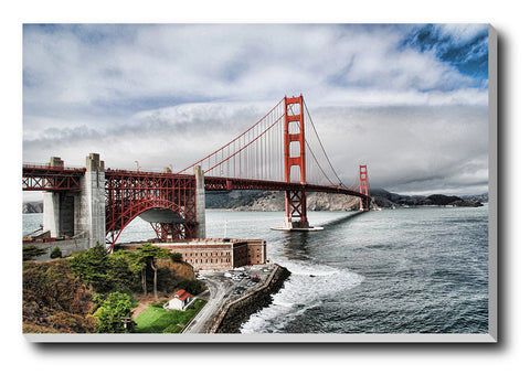 Canvas Art Prints, Golden Gate Bridge | Clouds Stretched Canvas Print, - PosterGully - 1