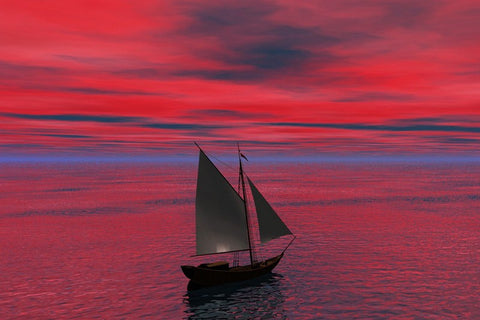 Wall Art, Boat Red Sky, - PosterGully