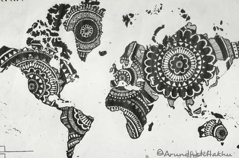 Wall Art, Black Doodle 1 Artwork  | Artist: Arundhati Hakhu, - PosterGully