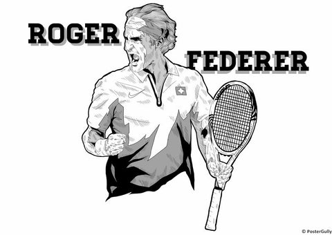 PosterGully Specials, Roger Federer | By Manu, - PosterGully