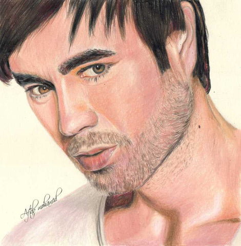 Square Art Prints, Enrique Iglesias Artwork  | Artist: Aftab Mohamed, - PosterGully