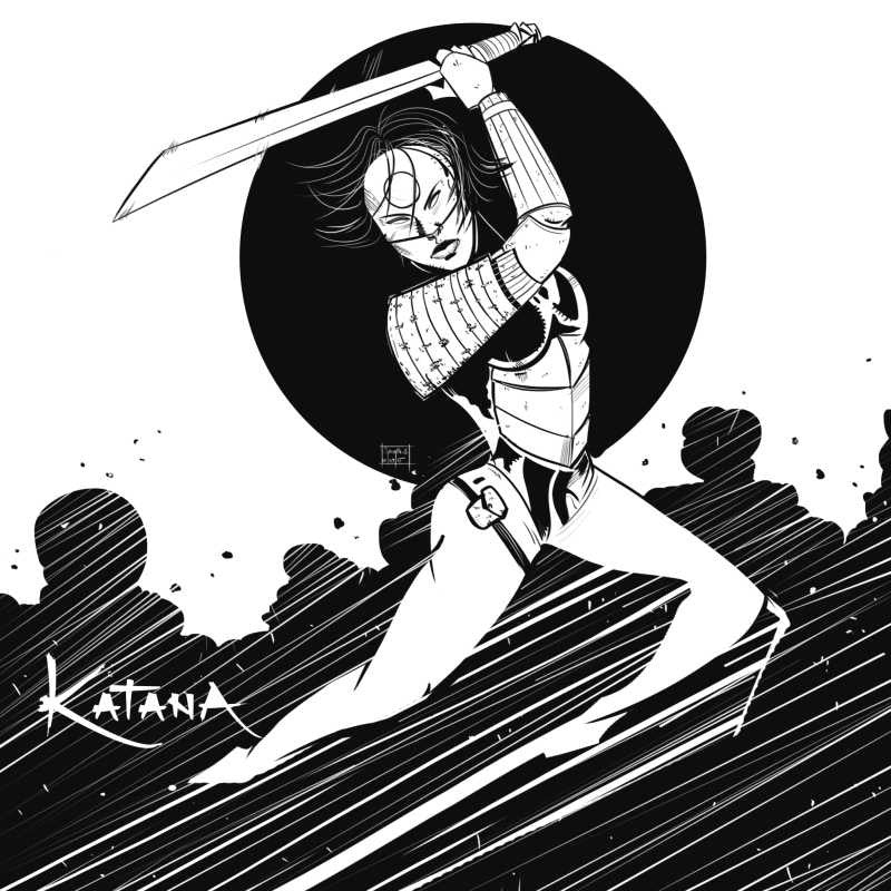Square art prints dc comics katana black and white artwork artist sachin sivakumaran