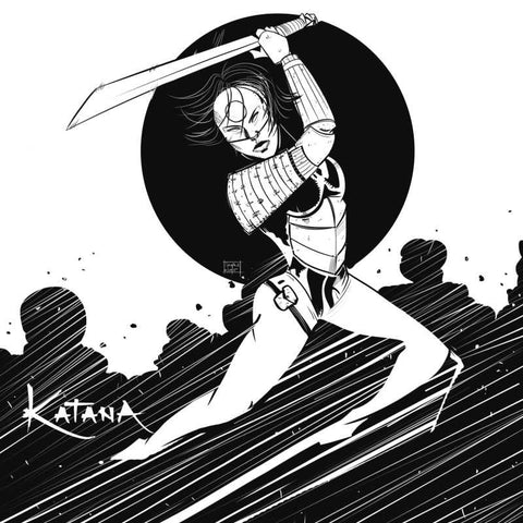 Square Art Prints, Dc Comics Katana Black And White Artwork | Artist: Sachin Sivakumaran, - PosterGully