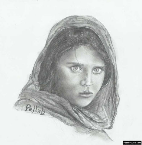 Square Art Prints, Afghan Girl | Sketch Artwork | Artist: Pallab Bhowmik, - PosterGully