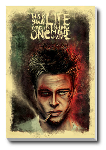 Canvas Art Prints, Brad Pitt Art Fight Club Stretched Canvas Print, - PosterGully - 1