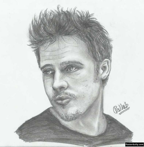 Square Art Prints, Brad Pitt 1 | Sketch Artwork | Artist: Pallab Bhowmik, - PosterGully