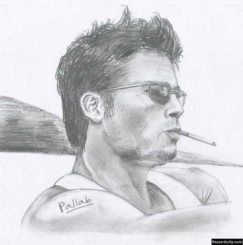 Square Art Prints, Brad Pitt 2 | Sketch Artwork | Artist: Pallab Bhowmik, - PosterGully