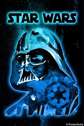 Wall Art, Darth Vader Blue Artwork | Star Wars, - PosterGully
