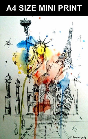 Mini Prints, Seven Wonders Pencil Art | Mini Print, - PosterGully