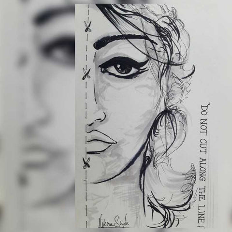 Square Art Prints, Beauty Sketch Artwork | Artist: Vikram Singh, - PosterGully