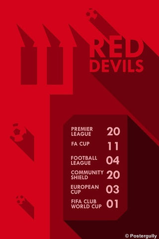 Wall Art, Manchester United Red Devils Stats, - PosterGully
