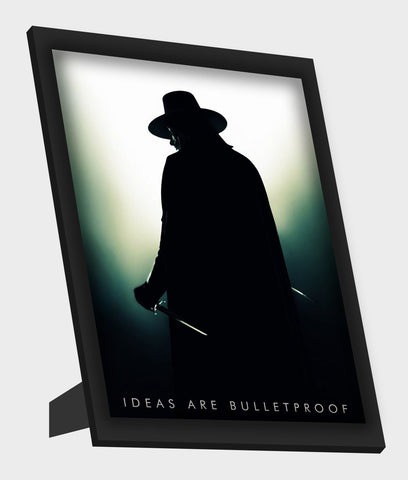 Framed Art, V For Vendetta Guy Fawkes Shadow Framed Art, - PosterGully