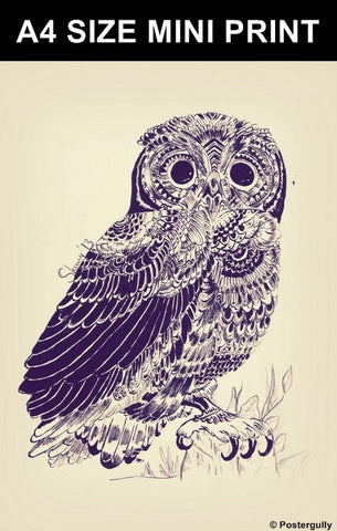 Mini Prints, The Owl Sketch by Sherry | Mini Print, - PosterGully