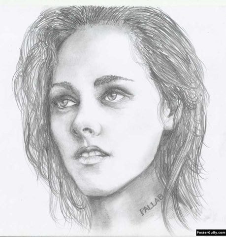 Square Art Prints, Kristen Stewart | Sketch Artwork | Artist: Pallab Bhowmik, - PosterGully