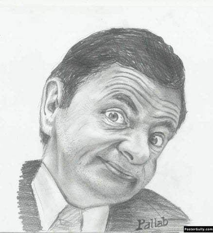 Square Art Prints, Mr. Bean | Sketch Artwork | Artist: Pallab Bhowmik, - PosterGully