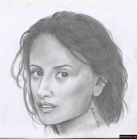 Square Art Prints, Penelope Cruz | Sketch Artwork | Artist: Pallab Bhowmik, - PosterGully