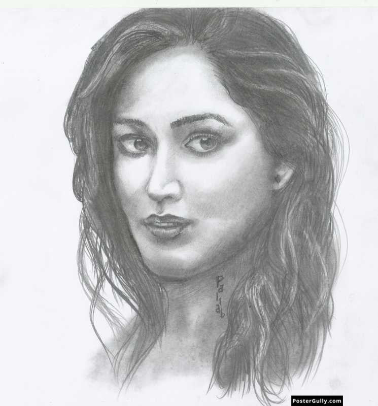 Square art prints yami gautam sketch artwork artist pallab bhowmik