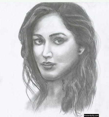 Square Art Prints, Yami Gautam | Sketch Artwork | Artist: Pallab Bhowmik, - PosterGully