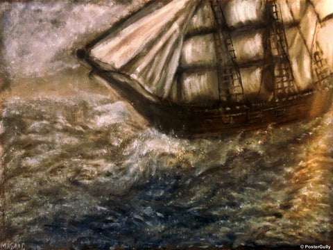 Wall Art, Ship in Storm, - PosterGully