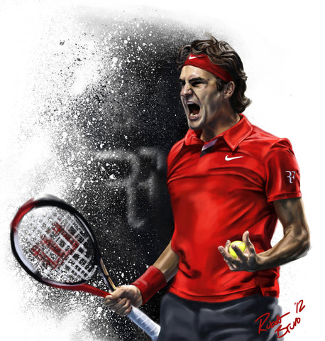 PosterGully Specials, Roger Federer Red Art, - PosterGully