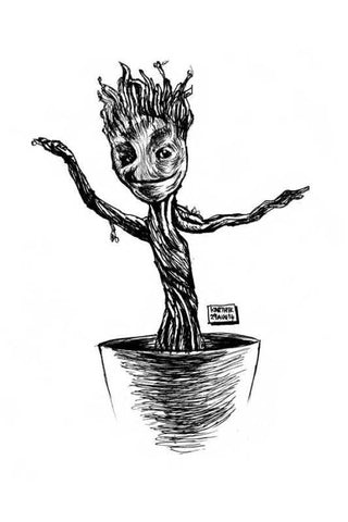 Wall Art, Baby Groot Artwork | Artist: Karthik Abhiram, - PosterGully