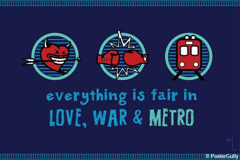 Wall Art, Love War & Metro Artwork | Artist: MyArtini Bar, - PosterGully - 1