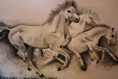 Wall Art, Running Horses | Sketch, - PosterGully