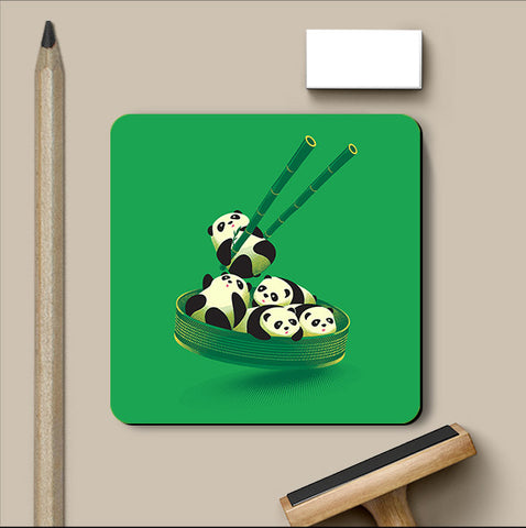PosterGully Coasters, Panda Dumplings - Green Coaster | By Captain Kyso, - PosterGully