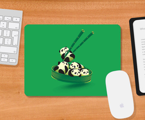Mousepads, Panda Dumplings - Green Mousepad | By Captain Kyso, - PosterGully