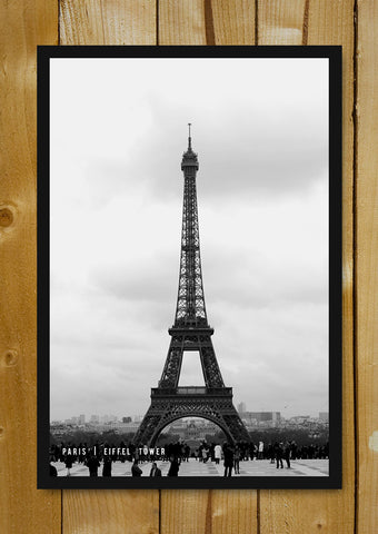 Glass Framed Posters, Paris Eiffel Tower Black & White Glass Framed Poster, - PosterGully - 1