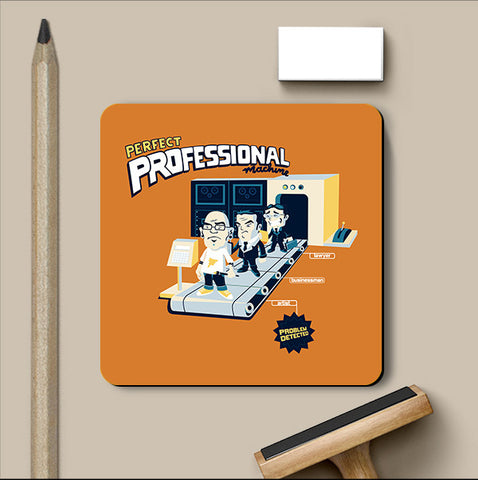 PosterGully Coasters, Perfect Professional Machine - Orange Coaster | By Captain Kyso, - PosterGully