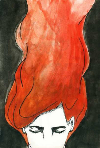 Wall Art, Lady In Red Hair | Artist: Amitesh, - PosterGully