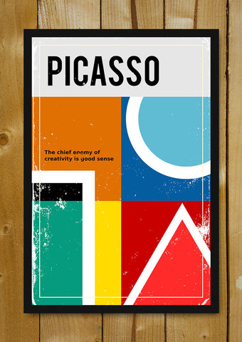 Glass Framed Posters, Picasso Creativity Vintage Motivational Glass Framed Poster, - PosterGully - 1