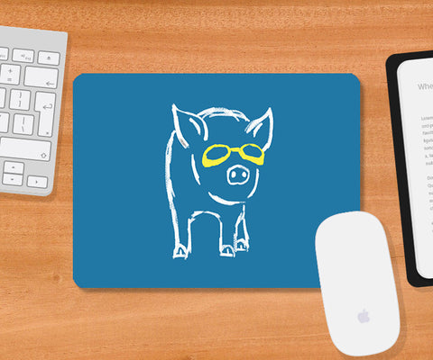 Mousepads, Piggy Wants To Be Cool Light Blue Mousepad | By Captain Kyso, - PosterGully