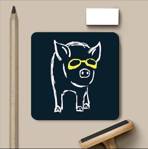 PosterGully Coasters, Piggy Wants To Be Cool Navy Blue Coaster | By Captain Kyso, - PosterGully