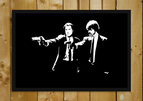 Glass Framed Posters, Pulp Fiction Jules & Vincent with Guns Glass Framed Poster, - PosterGully - 1