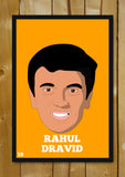Glass Framed Posters, Rahul Dravid Minimal Design Glass Framed Poster, - PosterGully - 1