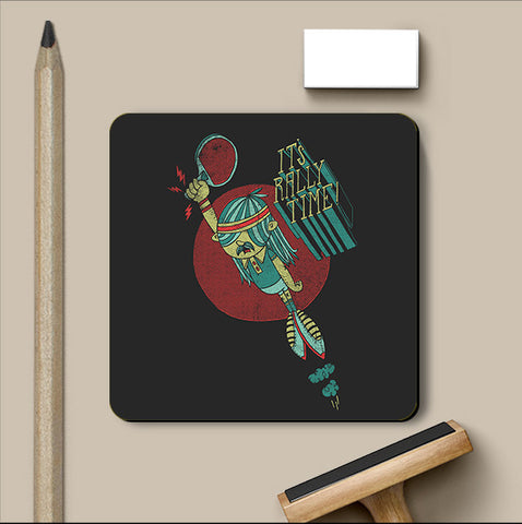 PosterGully Coasters, Rally Time - Dark Grey Coaster | By Captain Kyso, - PosterGully