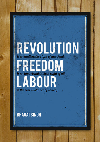 Glass Framed Posters, Revolution Bhagat Singh Quote Glass Framed Poster, - PosterGully - 1