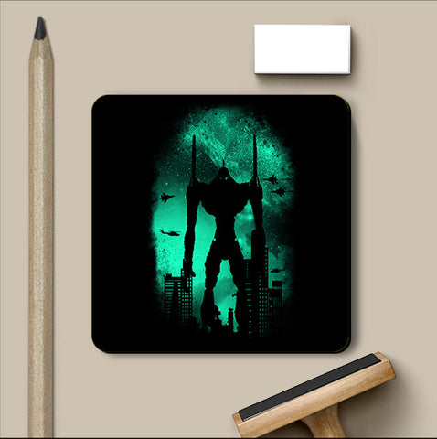 PosterGully Coasters, Robot Attack Black Coaster | By Captain Kyso, - PosterGully