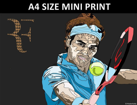 Mini Prints, Roger Federer Blue Art | Mini Print, - PosterGully