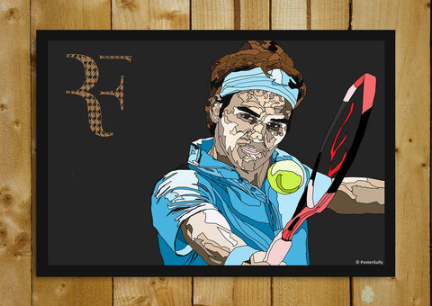 Glass Framed Posters, Roger Federer Blue Art | Glass Framed Poster, - PosterGully - 1