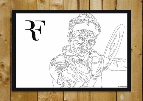 Glass Framed Posters, Roger Federer Line Art | Glass Framed Poster, - PosterGully - 1