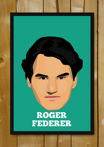 Glass Framed Posters, Roger Federer Minimal Design Glass Framed Poster, - PosterGully - 1