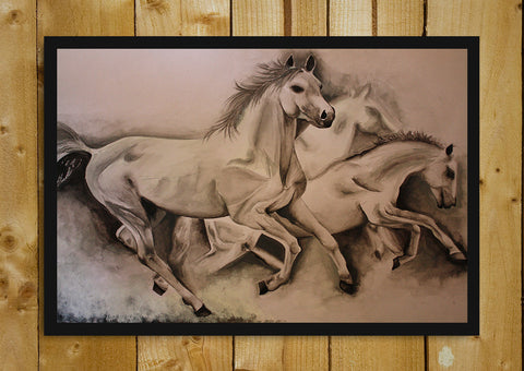 Glass Framed Posters, Running Horses Sketch Glass Framed Poster, - PosterGully - 1